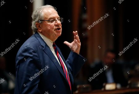 Stock Image of Massachusetts House Speaker Robert DeLeo speaks at the Massachusetts Statehouse, in Boston, prior to the swearing-in of the 160-member House of Representatives to new two-year terms on Beacon Hill