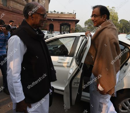 Congress Rajya Sabha MP P. Chidambaram and Digvijay Singh after attending the Parliament Winter Session on January 2, 2019 in New Delhi, India.