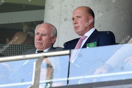 Australian Home Affairs Minister Peter Dutton (R) sits with former Australian prime minister John Howard (L) during day one of the fourth Test match between Australia and India at the Sydney Cricket Ground (SCG) in Sydney, Australia, 03 January 2019.