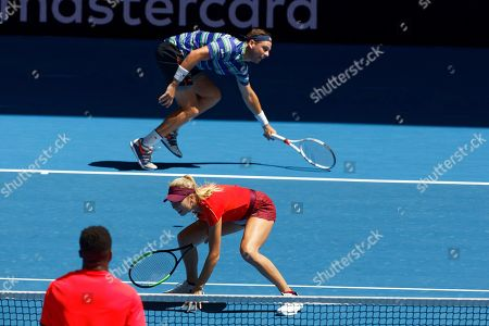 Serena Williams, Frances Tiafoe. Britain's Katie Boulter and Cameron Norrie during their mixed doubles match against Serena Williams and Frances Tiafoe of the United States at the Hopman Cup in Perth, Australia