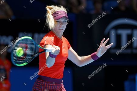 Katie Boulter of Britain plays a shot during her match against Serena Williams of the United States at the Hopman Cup in Perth, Australia