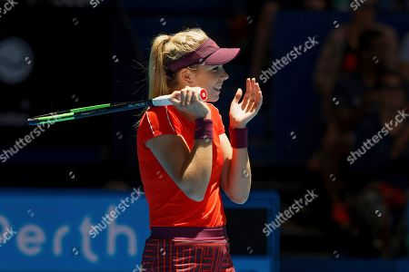 Katie Boulter of Britain reacts during her match against Serena Williams of the United States at the Hopman Cup in Perth, Australia