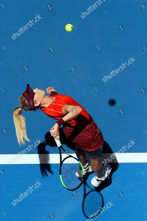 Katie Boulter of Britain serves during her match against Serena Williams of the United States at the Hopman Cup in Perth, Australia