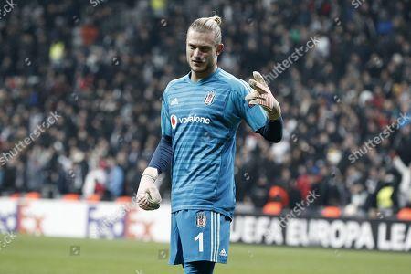 Loris Karius of Besiktas reacts to the line referee