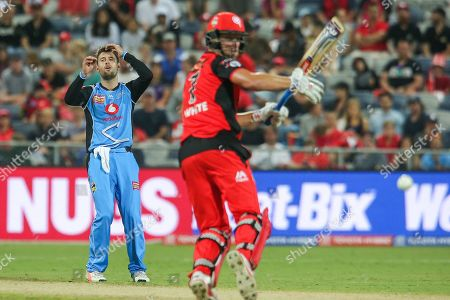 Liam O'Connor of Adelaide Strikers reacts as Cameron White of Melbourne Renegades inside edges one during the big bash league match between Melbourne Renegades and Adelaide Strikers at the GMHBA Stadium, Geelong, Victoria. Picture by Martin Keep