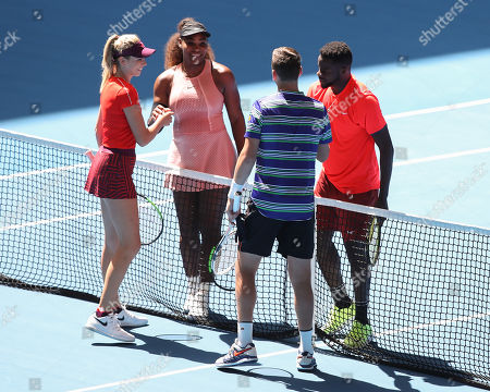 Stock Image of Serena Williams and Frances Tiafoewith Katie Boulter, Cameron Norrie - Mixed Doubles