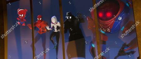 Spider-Ham (John Mulaney) Peter Parker (Jake Johnson), Spider-Gwen (Hailee Steinfeld) and Spider-Man Noir (Nicolas Cage)