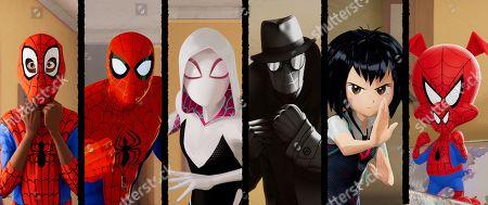 Miles Morales (Shameik Moore), Peter Parker (Jake Johnson), Spider-Gwen (Hailee Steinfeld), Spider-Man Noir (Nicolas Cage), Peni Parker (Kimiko Glenn) and Spider-Man (John Mulaney)