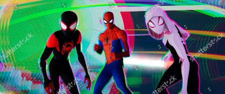 Miles Morales (Shameik Moore), Peter Parker (Jake Johnson) and Spider-Gwen (Hailee Steinfeld)