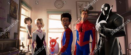 Peni (Kimiko Glen), Spider-Gwen (Hailee Steinfeld), Spider-Ham (John Mulaney), Miles Morales (Shameik Moore), Peter Parker (Jake Johnson) and Spider-Man Noir (Nicolas Cage)