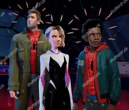 Peter Parker (Jake Johnson), Gwen Stacy (Hailee Steinfeld) and Miles Morales (Shameik Moore)