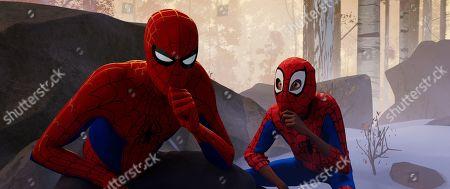 Peter Parker (Jake Johnson) and Miles Morales (Shameik Moore)
