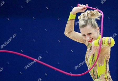 Austria's Caroline Weber performs with a rope during the first round qualifications