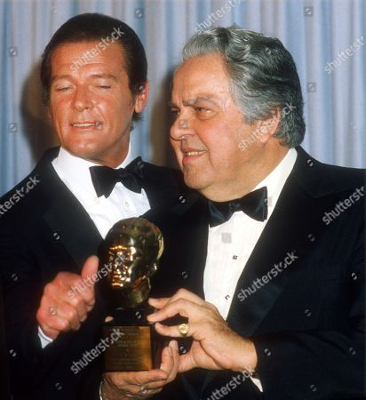 Stock Photo of Roger Moore and Albert Cubby Broccoli USA New York City