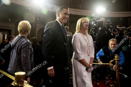 Mitt Romney, Ann Romney. Sen. Mitt Romney, R-Utah, and his wife Ann arrive for a mock swearing in ceremony in the Old Senate Chamber on Capitol Hill in Washington, as the 116th Congress begins