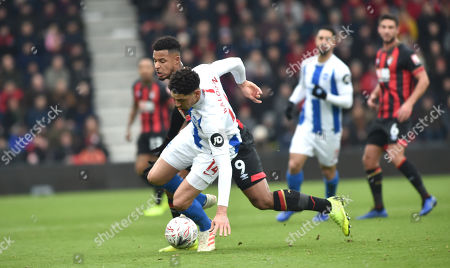 Leon Balogun of Brighton holds off Lys Mousset of Bournemouth during the FA Cup 3rd round match between AFC Bournemouth and Brighton & Hove Albion at the Vitality Stadium . 05 January 2019