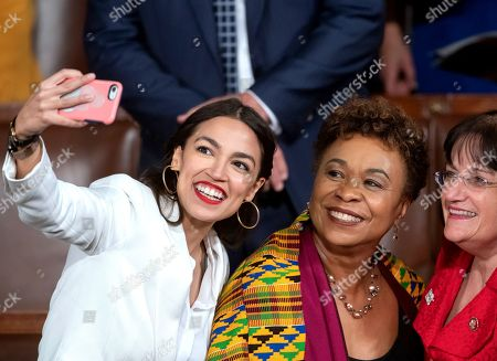 Alexandria Ocasio-Cortez, Ann McLane Kuster, Barbara Lee, Paul Ryan. Rep.-elect Alexandria Ocasio-Cortez, a freshman Democrat representing New York's 14th Congressional District, takes a selfie with Rep. Ann McLane Kuster, D-NH, and Rep. Barbara Lee, D-Calif., on the first day of the 116th Congress with Democrats holding the majority, at the Capitol in Washington