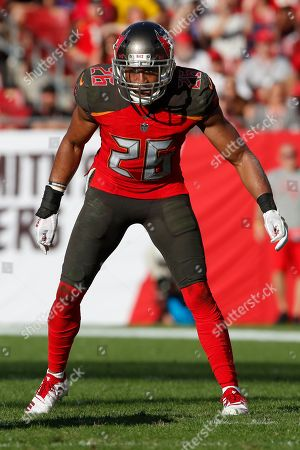 Tampa Bay Buccaneers defensive back Andrew Adams (26) lines up against the Atlanta Falcons during an NFL football game, in Tampa, Fla. The Falcons won 34-32