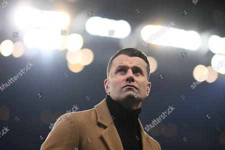 General view of pundit Shay Given before the start of the match