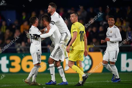 Sergio Ramos of Real Madrid celebrates the Raphael Varane goal