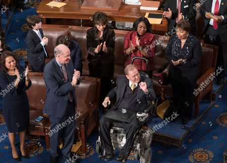 Jim Langevin, Paul Ryan. Rep. Jim Langevin, D-R.I., center, is applauded by his Democratic colleagues on the floor of the House of Representatives as he was chosen as Speaker pro tempore for the opening day of the 116th Congress, at the Capitol in Washington