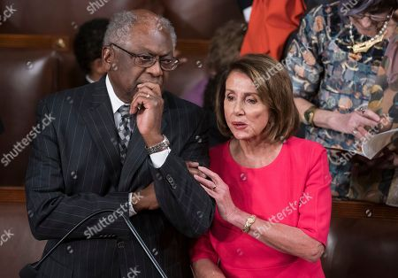 Nancy Pelosi, James Clyburn, Paul Ryan. Speaker of the House Nancy Pelosi, D-Calif., talks with House Majority Whip James Clyburn, D-S.C., left, on the opening day of the 116th Congress as the Democrats take the majority from the GOP, at the Capitol in Washington