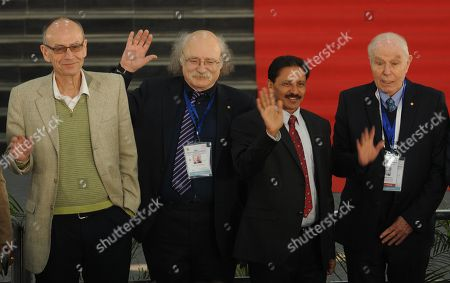 Stock Image of Nobel Laureates Professor Avram Hershko, Naresh Mittal of LPU, Professor Duncan Haldane, and Professor Avram Hershko during the inauguration of 106th Indian Science Congress at Lovely Professional University