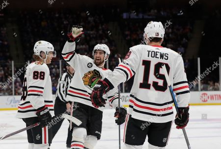 Chicago Blackhawks  Patrick Kane (88) celebrates after scoring a goal during  the third ... b47a92a4a