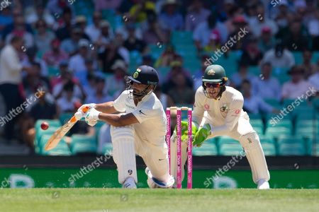 Rishabh Pant of India bats from Australia's Patrick Cummins during day two of the fourth Test match between Australia and India at the Sydney Cricket Ground (SCG) in Sydney, Australia, 04 January 2019.
