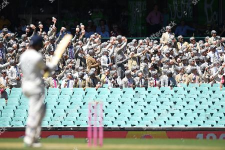 A supporter group know as The Richies, named after former Australian cricketer Richie Benaud, are seen in the crowd during day two of the fourth Test match between Australia and India at the Sydney Cricket Ground (SCG) in Sydney, Australia, 04 January 2019.