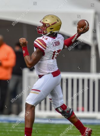 Dallas, TX...Boston College quarterback, Anthony Brown (13), in action at the NCAA football First Responders Bowl game between the Boise State Broncos and the Boston College Eagles at the Cotton Bowl in Dallas, TX. (Absolute Complete Photographer & Company Credit: Joe Calomeni / MarinMedia.org / Cal Sport Media)