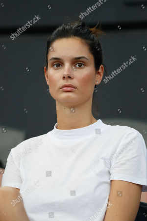 Belgian model Camille Ringoir, girlfriend of Canadian tennis player Milos Raonic, watches Raonic's quarter-final match against Daniil Medvedev of Russia at the Brisbane International tennis tournament at the Queensland Tennis Centre in Brisbane, Queensland, Australia, 04 January 2019.