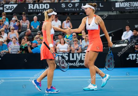 Nicole Melichar of the United States & Kveta Peschke of the Czech Republic in action during the doubles final of the 2019 Brisbane International WTA Premier tennis tournament