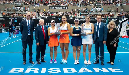 Nicole Melichar of the United States & Kveta Peschke of the Czech Republic and Latisha Chan & Chan Hao-ching of Chinese Taipeh with their trophies after the doubles final of the 2019 Brisbane International WTA Premier tennis tournament