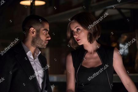 Sacha Dhawan as Davos and Jessica Stroup as Joy Meachum