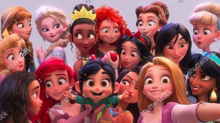 Jasmine (Linda Larkin), Snow White (Pamela Ribon), Cinderella (Jennifer Hale), Pocahontas (Irene Bedard), Vanellope (Sarah Silverman), Elsa (Idina Menzel), Moana (Auli'i Cravalho), Anna (Kristen Bell), Belle (Paige O'Hara), Rapunzel (Mandy Moore) Tiana (Anika Noni Rose), Ariel (Jodi Benson), Aurora (Kate Higgins), Ming-Na Wen as Mulan, Merida (Kelly Macdonald)