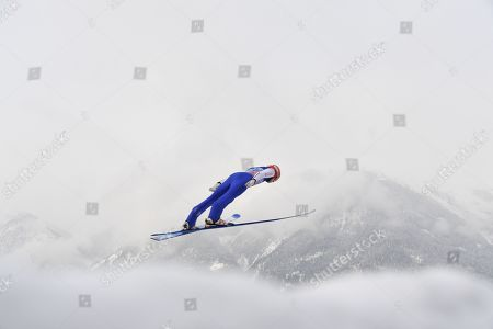 David Siegel of Germany soars through the air during a practice jump for the third stage of the 67th Four Hills Tournament in Innsbruck, Austria, 04 January 2019.
