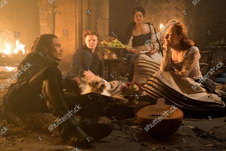 Ismael Cruz Cordova as Rizzio, Maria Dragus as Mary Fleming, Izuka Hoyle as Mary Seton and Saoirse Ronan as Mary Stuart