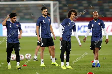 (L-R) Amer Abdul Rahman, Majed Hassan, Mohamed Al Raqi and Ismaeil Matar of UAE attend  a training session at Zayed Sports City stadium in Abu Dhabi, United Arab Emirates, 04 January 2019. UAE will play against Bahrain on 05 January 2019 in a 2019 AFC Asian Cup preliminary round match.