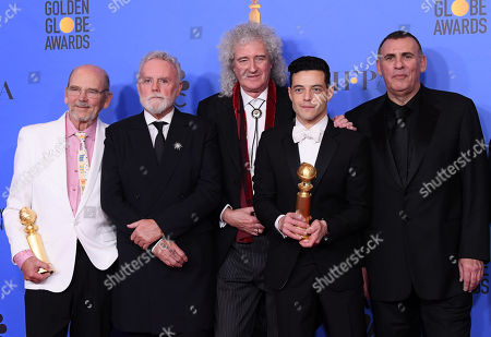 Jim Beach, Roger Taylor, Brian May, Rami Malek and Graham King - Best Motion Picture, Drama - 'Bohemian Rhapsody'