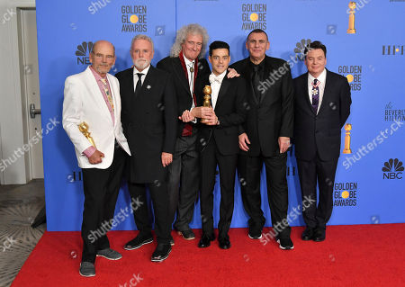 Jim Beach, Roger Taylor, Brian May, Rami Malek, Graham King and Mike Myers - Best Motion Picture, Drama - 'Bohemian Rhapsody'