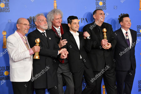 Stock Image of Jim Beach, Roger Taylor, Brian May, Rami Malek, Graham King and Mike Myers - Best Motion Picture, Drama - 'Bohemian Rhapsody'