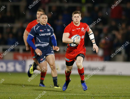 Stock Picture of David Strettle of Saracens breaks clear of James O?Connor of Sale