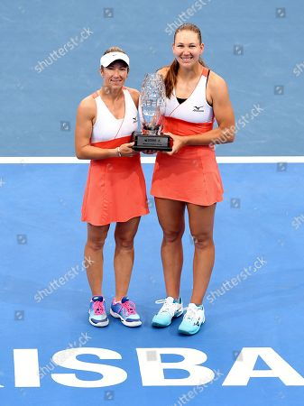 Kveta Peschke of the Czech Republic (L) and Nicole Melichar (R) of the US pose with the trophy after winning their women's doubles final match against Hao-Ching Chan and Latish Chan of Taipei at the Brisbane International tennis tournament at the Queensland Tennis Centre in Brisbane, Australia, 05 January 2019.