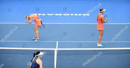 Kveta Peschke of the Czech Republic (L) and Nicole Melichar of the US (R) celebrate a point during their women's doubles final match against Hao-Ching Chan and Latish Chan of Taipei at the Brisbane International tennis tournament at the Queensland Tennis Centre in Brisbane, Australia, 05 January 2019.