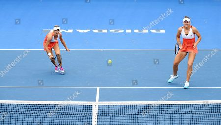 Kveta Peschke of the Czech Republic (L) and Nicole Melichar of the US (R) in action during their women's doubles final match against Hao-Ching Chan and Latish Chan of Taipei at the Brisbane International tennis tournament at the Queensland Tennis Centre in Brisbane, Australia, 05 January 2019.