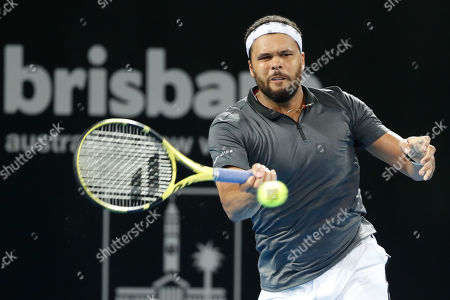 Jo-Wilfred Tsonga of France in action during his semi final match against Danill Medvedev of Russia at the Brisbane International tennis tournament at the Queensland Tennis Centre in Brisbane, Australia, 05 January 2019.