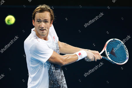 Danill Medvedev of Russia in action during his semi final match against Jo-Wilfred Tsonga of France at the Brisbane International tennis tournament at the Queensland Tennis Centre in Brisbane, Australia, 05 January 2019.
