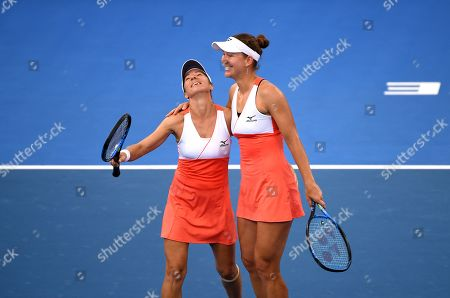 Kveta Peschke of the Czech Republic (L) and Nicole Melichar (R) of the US celebrate winning their women's doubles final match against Hao-Ching Chan and Latish Chan of Taipei at the Brisbane International tennis tournament at the Queensland Tennis Centre in Brisbane, Australia, 05 January 2019.