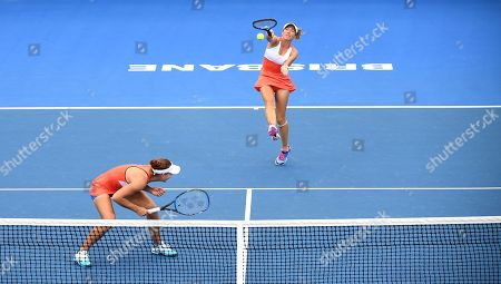 Kveta Peschke of the Czech Republic (R) and Nicole Melichar (L) of the US in action during their women's doubles final match against Hao-Ching Chan and Latish Chan of Taipei at the Brisbane International tennis tournament at the Queensland Tennis Centre in Brisbane, Australia, 05 January 2019.